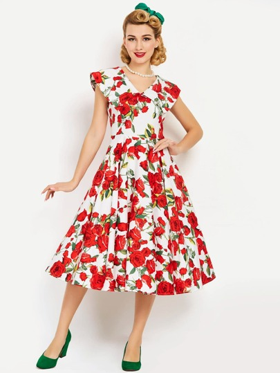 Allover Rose Print Double V Fit & Flare Dress