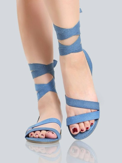 Wrap Up Denim Sandals BLUE DENIM
