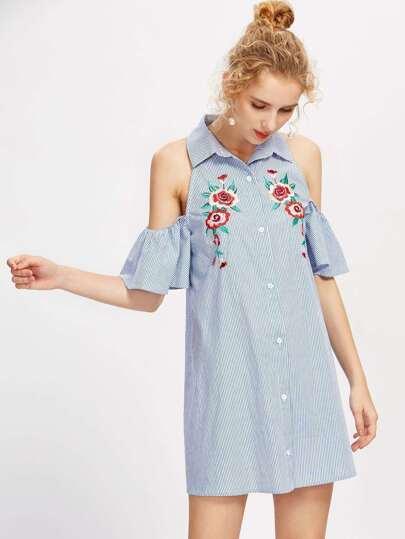Open Shoulder Flower Embroidered Bell Sleeve Dress