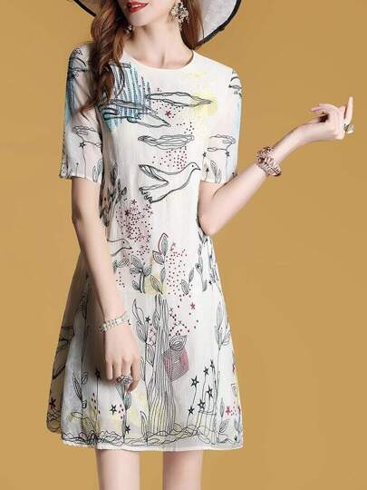 Crew Neck Graffiti Embroidered Shift Dress