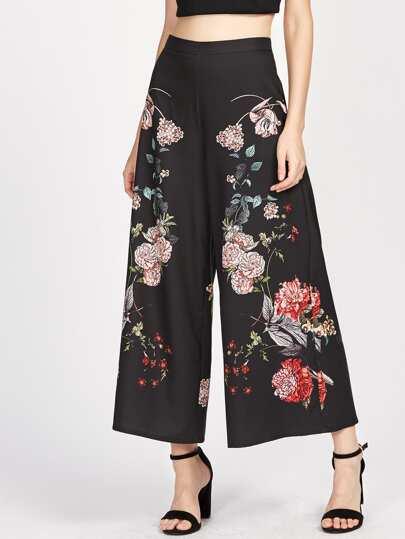 Pantaloni con fondo ampio e stampa botanica
