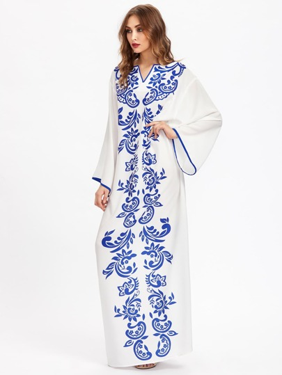 V Notch Contrast Binding Kaftan Dress