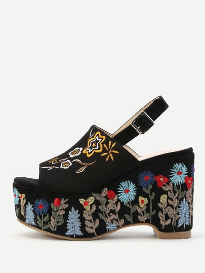 Flower Embroidery Slingback Wedge Sandals