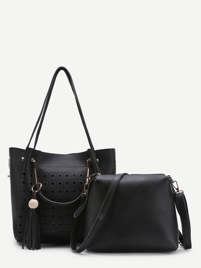 Tassel Detail Hollow Out Tote Bag With Shoulder Bag