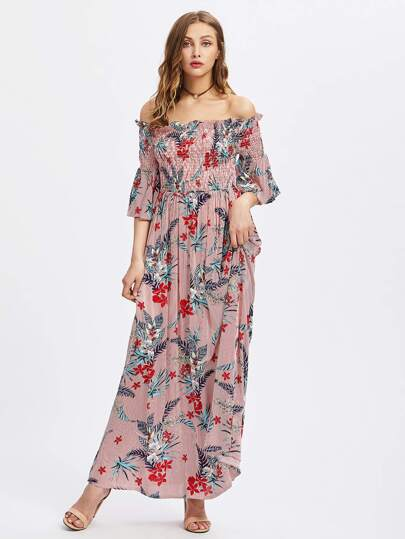 Smocked Bodice Trumpet Sleeve Tropical Bardot Dress