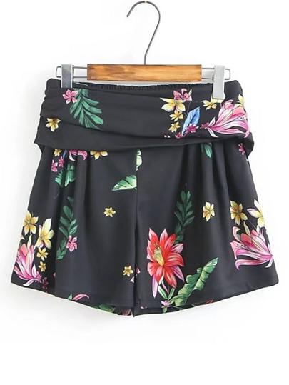 Shorts mit elastsicher Taille und Blumenmuster