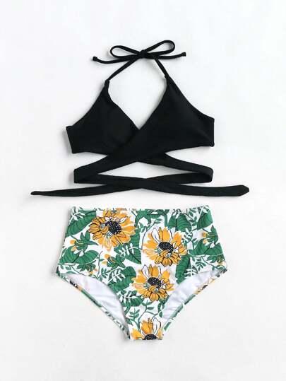 Set di bikini con stampa botanica