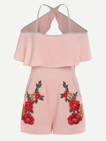 Модный комбинезон с цветочной вышивкой и открытой спиной