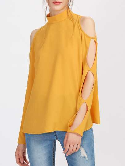 Band Collar Cutout Sleeve Top
