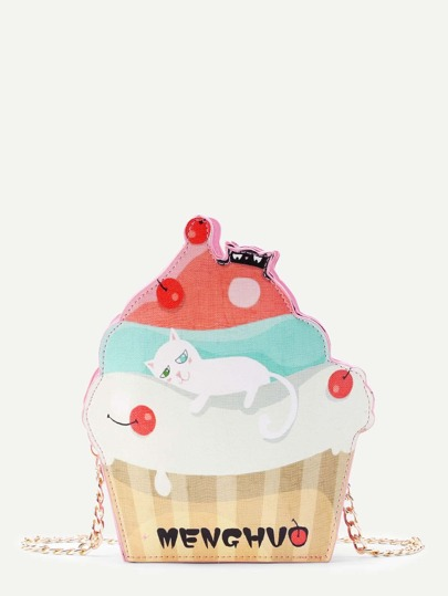 Cat Print Ice Cream Shaped Crossbody Bag