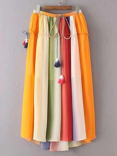 Drawstring Waist Pleated Skirt With Fringe