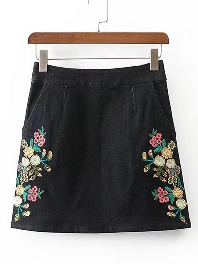 Flower Embroidery Denim Skirt
