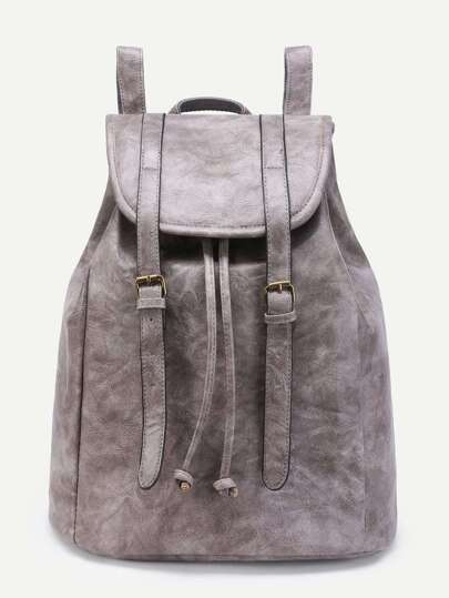 Double Buckle Drawstring PU Backpack
