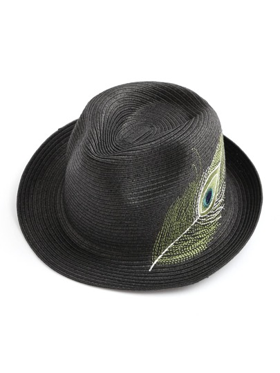 Feather Embroidery Straw Hat