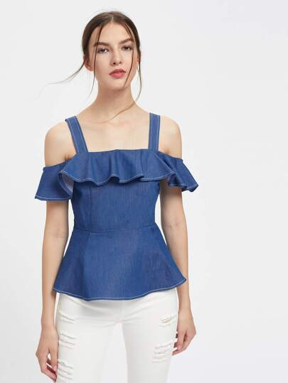 Flounce Trim Tailored Chambray Peplum Top