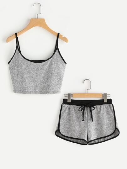 Ringer Crop Cami Top With Drawstring Shorts