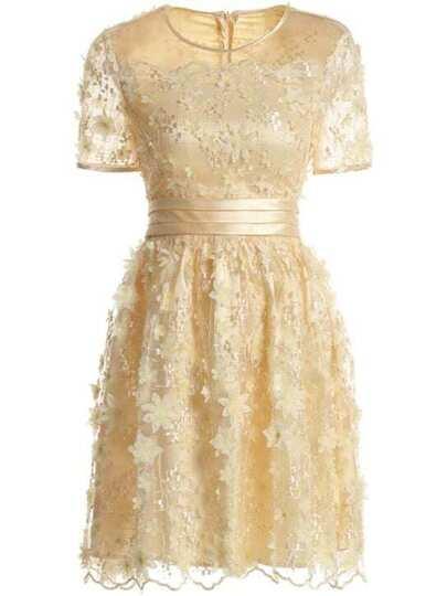 Flowers Applique Sheer A-Line Dress