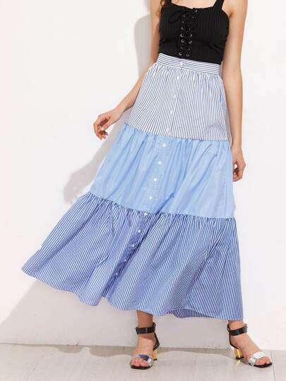 Mixed Pinstripe Button Up Tiered Skirt