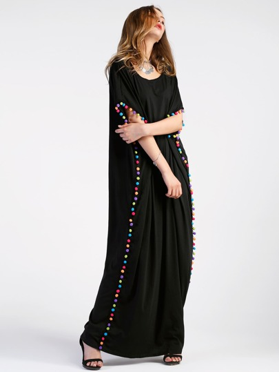 Pom Pom Trim Full Length Kaftan Dress