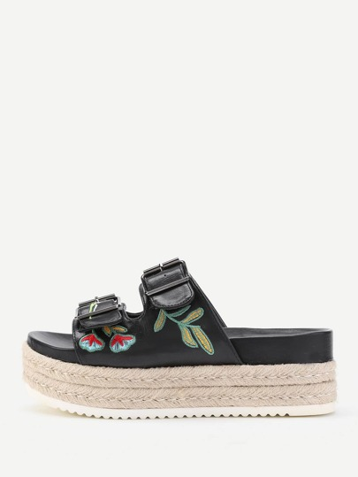 Flowers Embroidery Flatform PU Sandals