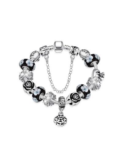 Flower Design Charm Bracelet With Rhinestone