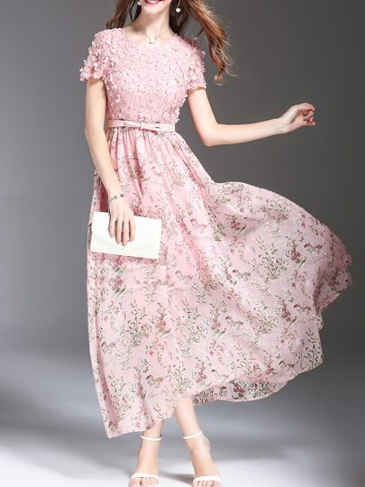 Flowers Applique Beading Floral Dress