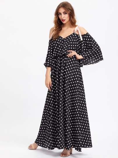 Ribbon Tie Shoulder Double Layer Polka Dot Dress