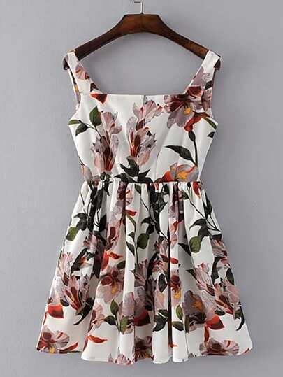 Floral Print Pleated Dress