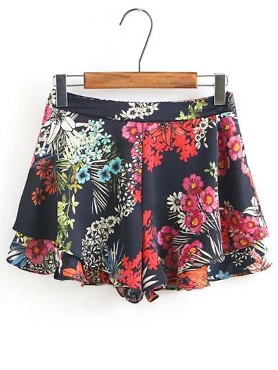 Shorts imprimé fleuri à étages