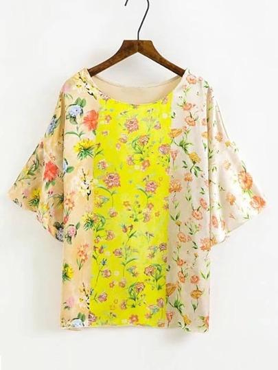 T-Shirt mit Glockärmeln und Blumenmuster