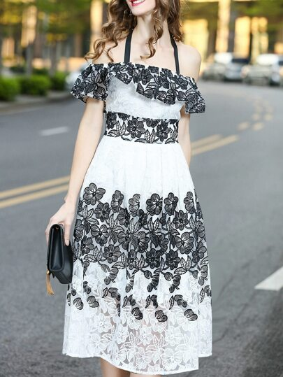 Halter Ruffle Flowers Embroidered Lace Dress
