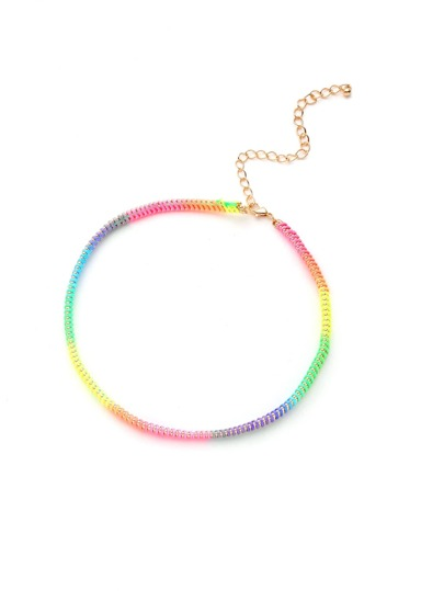 Iridescent Chain Choker Necklace