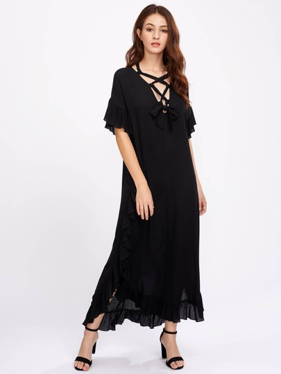 Lace Up Plunge Neck Frill Dress