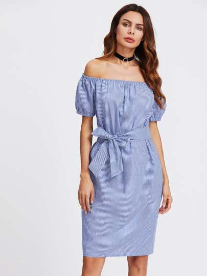Vertical Striped Bardot Self Tie Dress