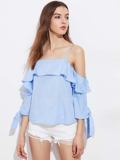 Cold Shoulder Bow Tie Cuff Ruffle Top