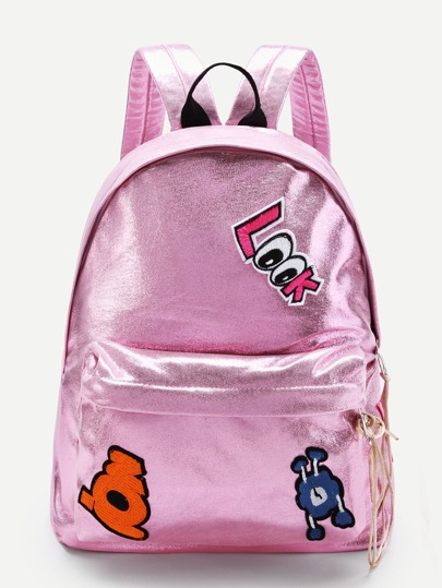 Star And Letter Patch Decorated PU Backpack