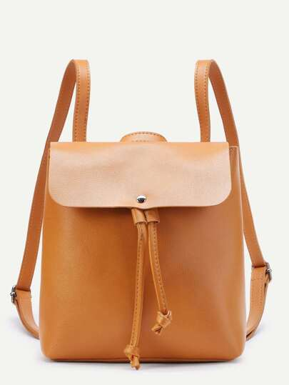 PU Drawstring Flap Backpack With Adjustable Strap