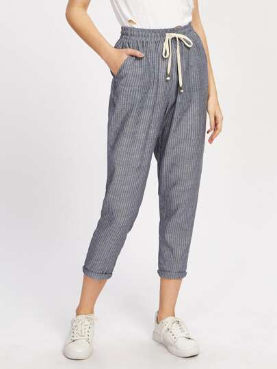 Pocket Side Pinstripe Peg Pants