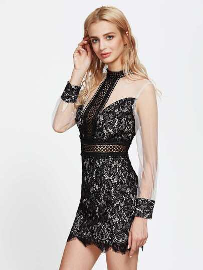 Contrast Mesh Sheer Lace Dress