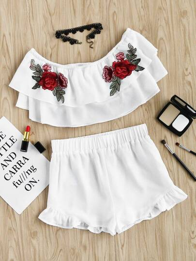 Embroidered Rose Patch Flounce Bardot Top And Shorts Set