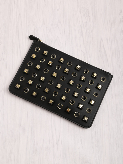 Studded Detail PU Clutch Bag
