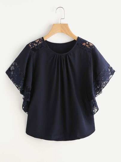 Floral Lace Insert Butterfly Sleeve Blouse