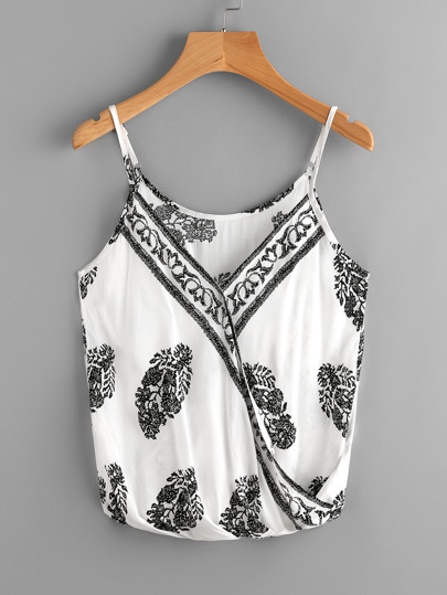 Ornate Print Surplice Cami Top
