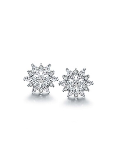 Rhinestone Snowflake Design Stud Earrings