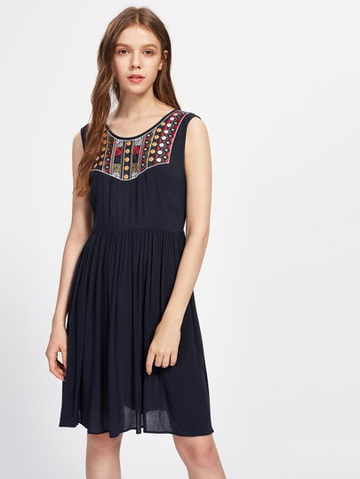 Embroidered Yoke Tied Open Back Crinkle Dress