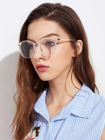 Gafas con montura metálica y lentes con transparencia