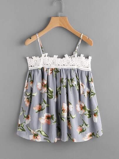Contrast Crochet Lace Trim Florals Cami Top