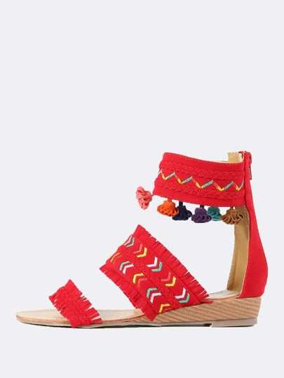 Embroidered Fringe Wedge Sandals RED