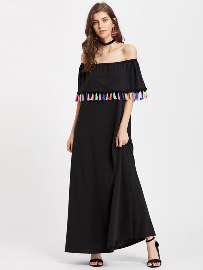 Flounce Layered Neckline Tassel Trim Dress