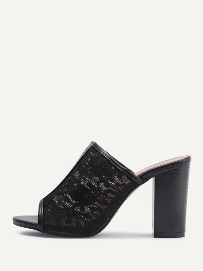 Open Toe Lace High Heeled Mules